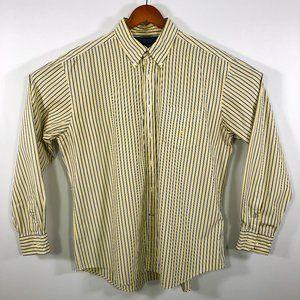 Nautica Yellow Blue White Striped Shirt XL